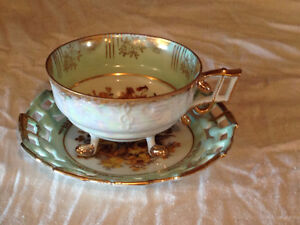 Reticulated Luster Three Footed Japan Cup & Saucer