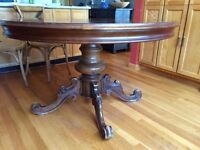 Beautiful antique round pedestal dining table- stunning inlay