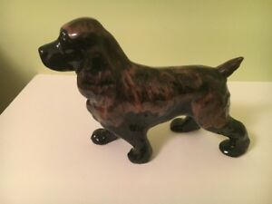 Black with Brown Porcelain Spaniel Springer Dog Figurine!