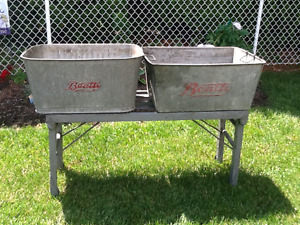 VIntage Galvanized steel wash tubs with rolling stand