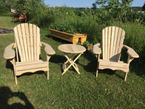 chaise adirondack et table  en cedre blanc