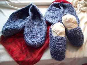 Denim Crocheted Slippers