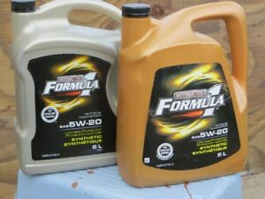 Motomaster Formula One full synthetic 5w-20 motor oil.