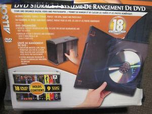 Allsop DVD Storge System - Holds 18 DVD Cases (9 VHS) - NEW