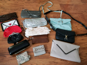 Purses, clutches, make up bags, wallet, change purse