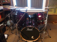 5 piece pearl vision drum kit with accessories