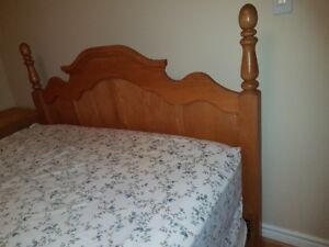 Solid Oak Bed Head Board, Dresser with mirror & Drawer Chest