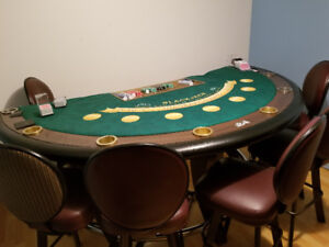 Selling blackjack table with brand new table felt and chairs