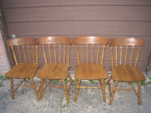 Vintage 4 Solid Wood Dining Chairs, still good