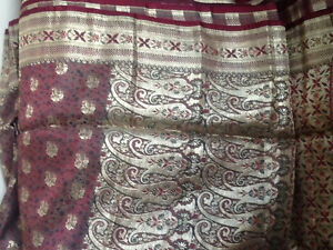 Vintage silk sari,purple toned in picture