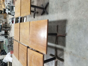 Square and rectangular wooden restaurant tables with steel stand