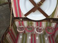 Adorable Wicker Picnic Basket - Cutlery Included