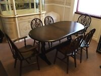 Priory Dark Oak Dresser, Dining Table and 6 Chairs (2 Carver)