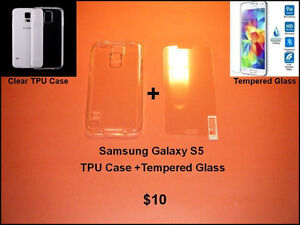 Galaxy S5.... TPU Case + Tempered Glass Protector Combo