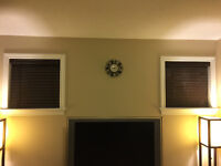 Pair of faux wooden blinds 2'x2' dark brown