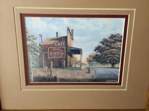 Coca Cola Red's Cafe Framed Print Signed by Artist Randy Souders