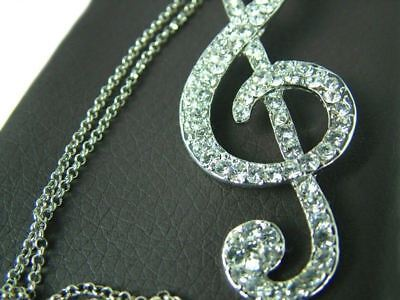 MUSIC NOTE TREBLE G CLEF PENDANT NECKLACE SILVER OR GOLD Music Gift + Pouch