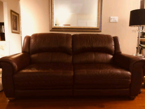 Burgundy Leather Sofa Set (2-pieces)