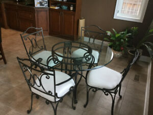 Glass Wrought Iron Dining Room Set
