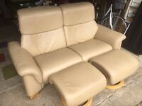 **FEATURED** Ekornes Stressless Paradise (top model) sofa and 2 footstools