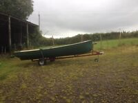 17 ft darragh boat and trailer (fiberglass )
