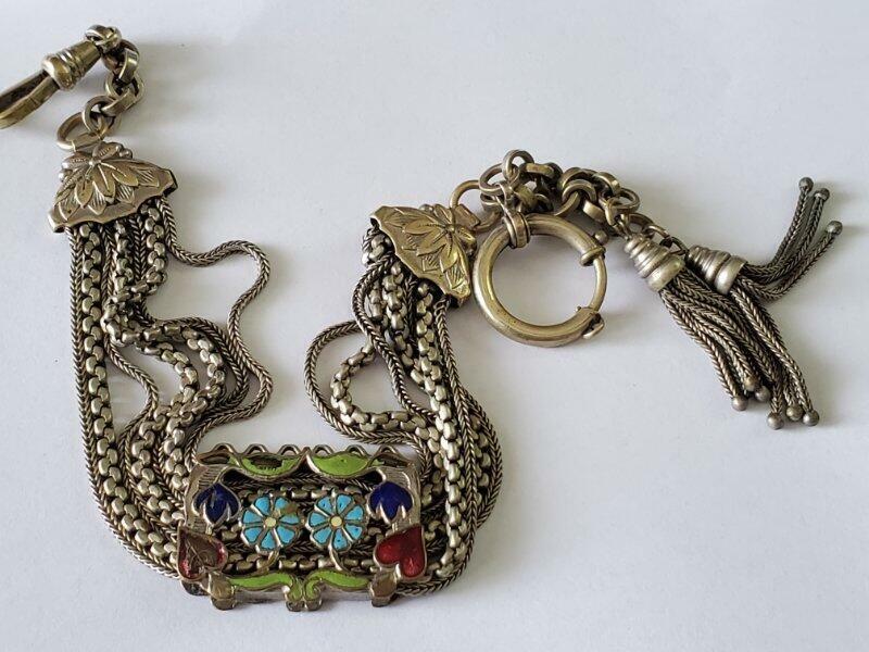 Antique Silver Silveroid Enamel Multi Chain Tassel Watch Chain
