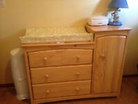 Baby's Dresser and attached Cabinet with Change table feature