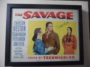 CHARLTON HESTON LOBBY CARD THE SAVAGE*******AUTOGRAPHED******