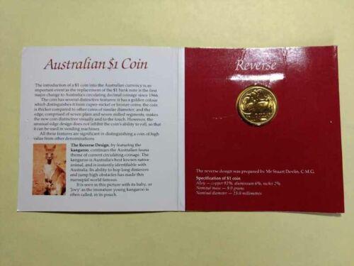 AUSTRALIA (1984) UNC $1 One Dollar Coin in Royal Australian Mint Folder - BU/UNC