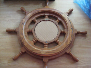 CAPTAINS BOAT STEERING WHEEL HELM PICTURE CIRCLE FRAME