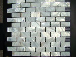 Brown White BRICK HEX SHAPE shell mother of pearl mosaic tiles Kitchener / Waterloo Kitchener Area image 2