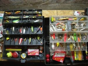 2, 3 tray fishing tackle boxes loaded with lures, soft plastics