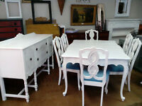 VINTAGE PAINTED DINING CHAIRS TABLES SIDEBOARDS DRESSERS