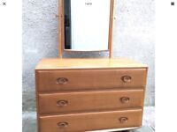 Vintage1960's Rare Ercol 483 Windsor Dressing Chest with Tilting Mirror 3 Drawers Elm & Beech Wood
