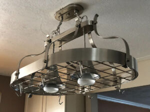 Hanging pot rack ceiling mount with 2 lights