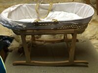 Moses basket and rocking wooden stand