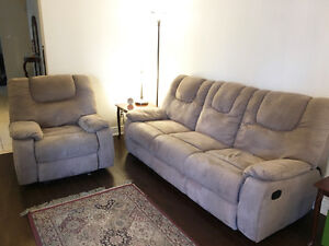 Microsuede 3 Seater Couch & Reclining Chair - BUNDLE SAVINGS $
