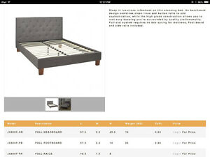 NEW IN BOX Gorgeous Queen Grey Fabric Bedframe