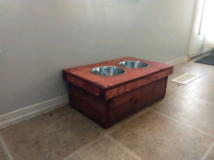 Custom made dog feeding station.