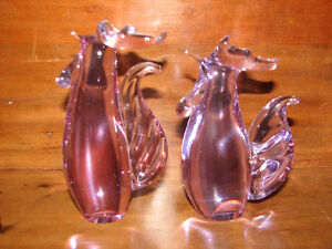 Art Glass, Hand Blown Glass, Chickens, Roosters, Purple Glass Kitchener / Waterloo Kitchener Area image 1