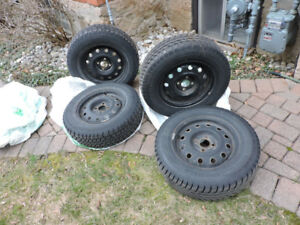 "SNOW TIRES - HONDA CIVIC 14"" ON RIMS- GOOD CONDITION"