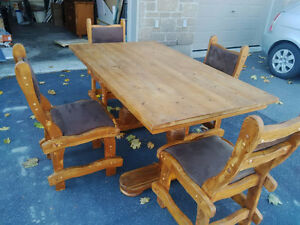 Solid wood Dining table set - 4 Chairs and Cabinet