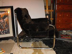 brown retro vintage chrome tube chair