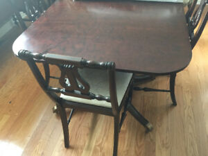Antique Dining table with 6 chairs and 1 armchair As is $200 BO