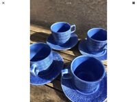 4 Retro Tams Blue Coffee Cups and Saucers Original 1960s / 70s