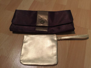 Brown clutch and gold makeup bag Cambridge Kitchener Area image 1