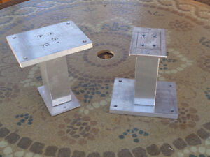 Home made aluminum stanchions for downrigger pedestal board