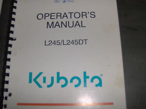 Kubota L245/L245DT Operators Manual