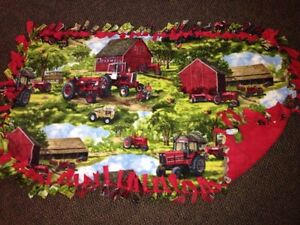 Handmade fleece blanket - tractors and farm scene London Ontario image 1