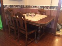 Antique walnut table set, buffet and china cabinet